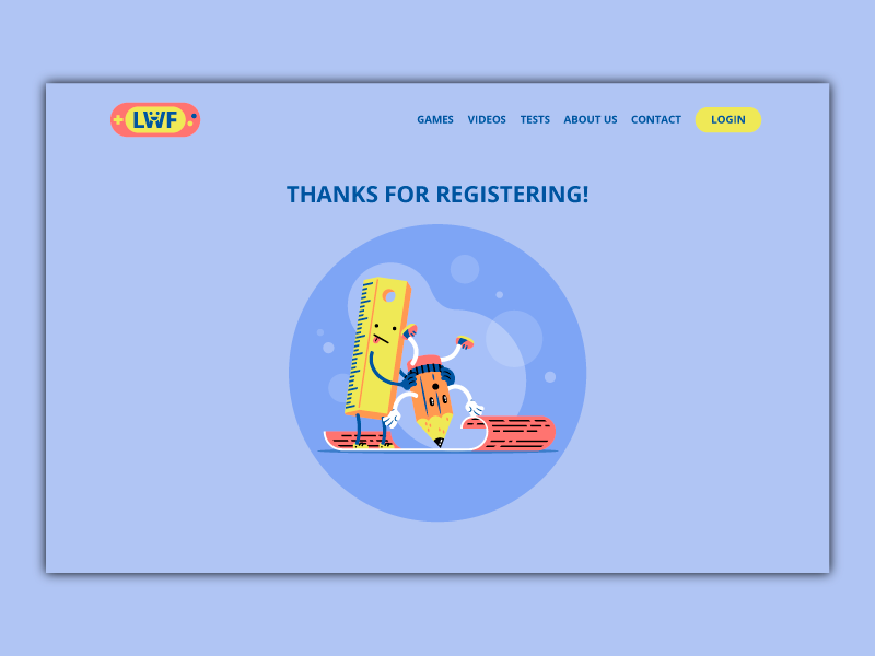 Register Page illustration character fun register sign up kid child pencil playful school ruler scene thierry fousse