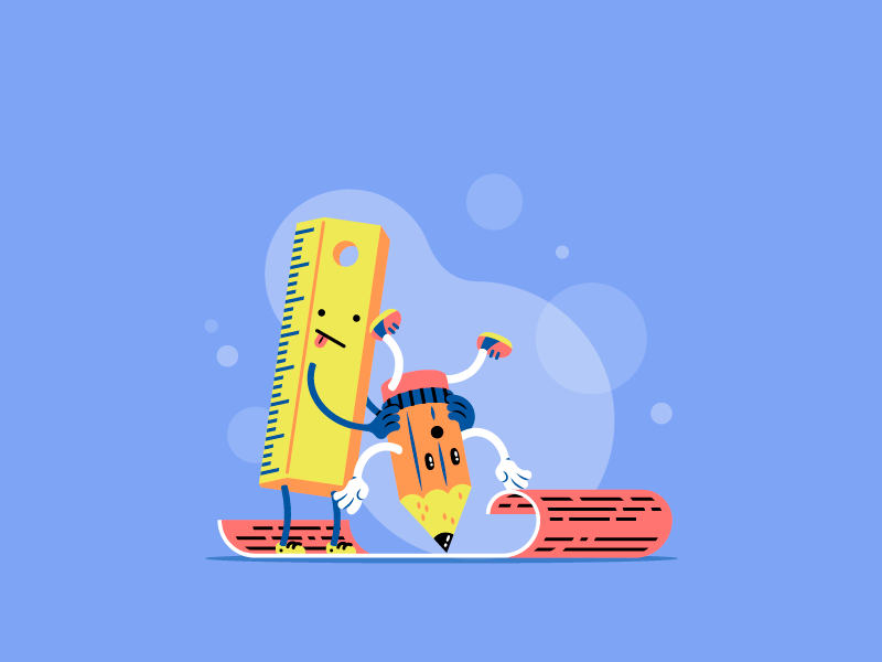 Register Illustration character fun register sign up kid child pencil playful school ruler scene thierry fousse