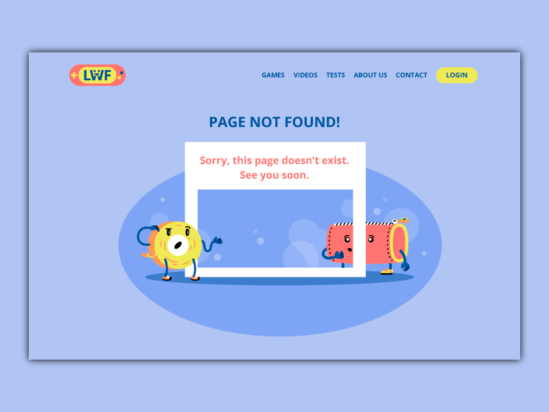 Error404 page illustration thierry fousse scene page school playful error 404 child kid sign up register fun character