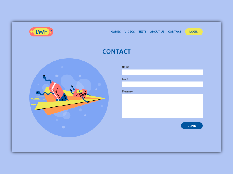 Contact Page illustration form character fun paperplane contact kid error 404 playful school page scene thierry fousse