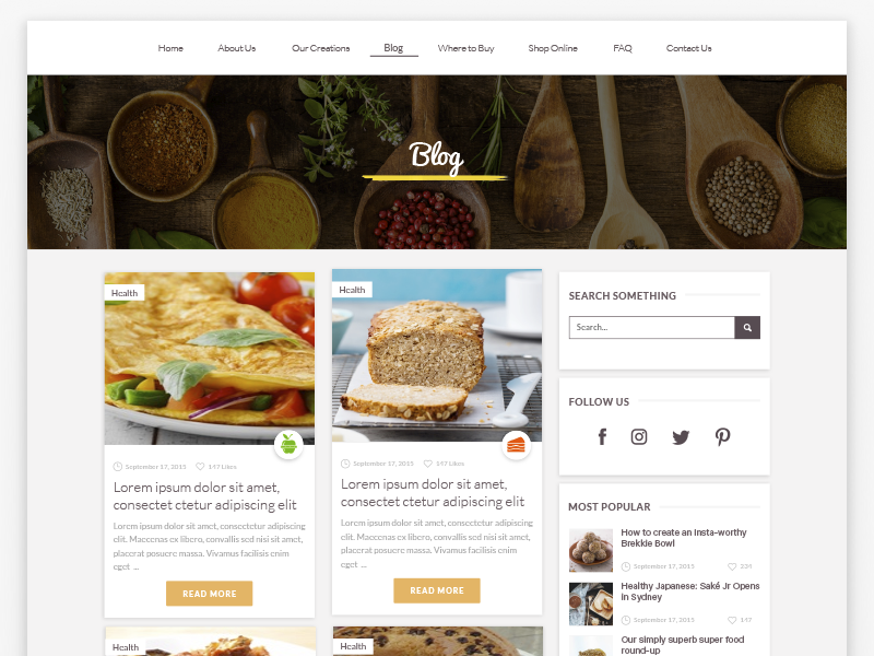 Recipe Blog clean web ui site recipe material design landing page interface food. imac pro eat cards blog