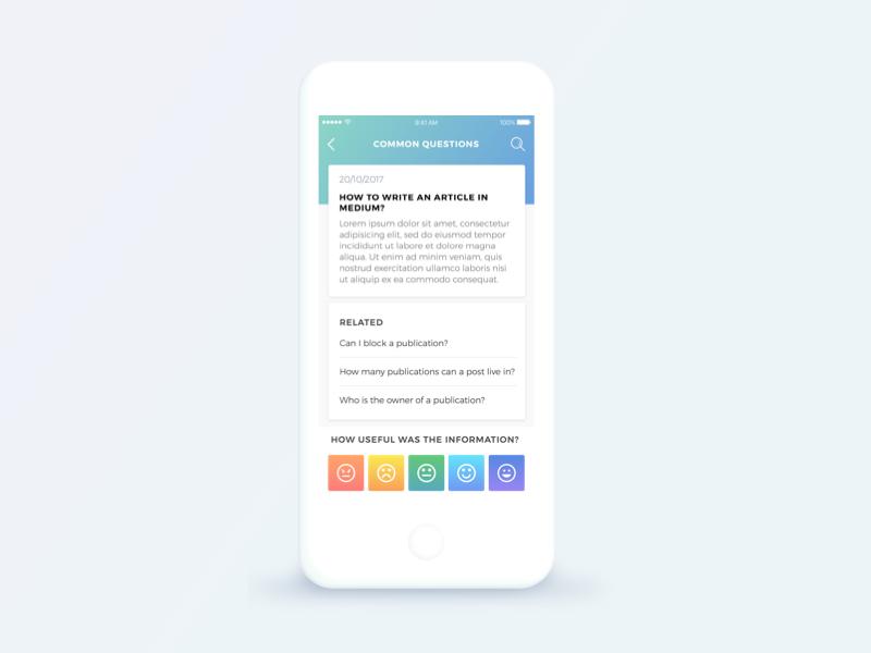 Concept FAQ app mobile - Medium medium faq mobile ios gradient app app design concept ui ux