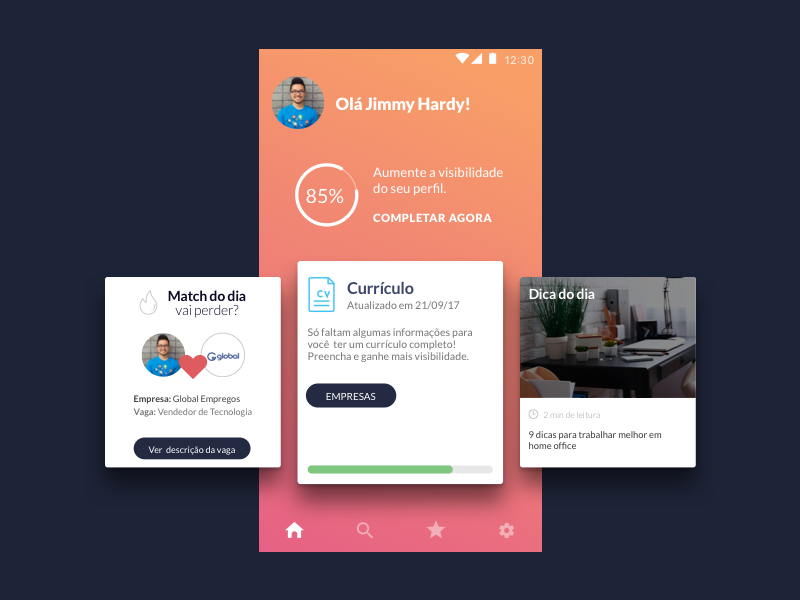 Dashboard - looking for a job job ux ui card recruit ios portfolio match android interaction hiring app