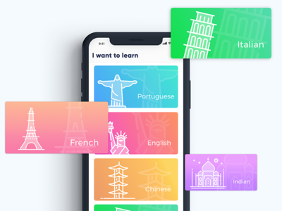 Learn course feed card colors gradient ui fun navigation illustartion course learn ios app
