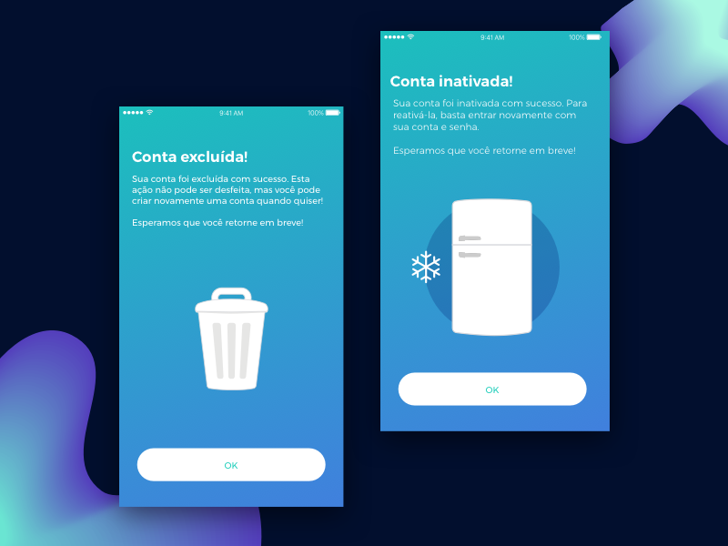 App Account Deleted or Frozen ios app interface ui frozen mobile account app social