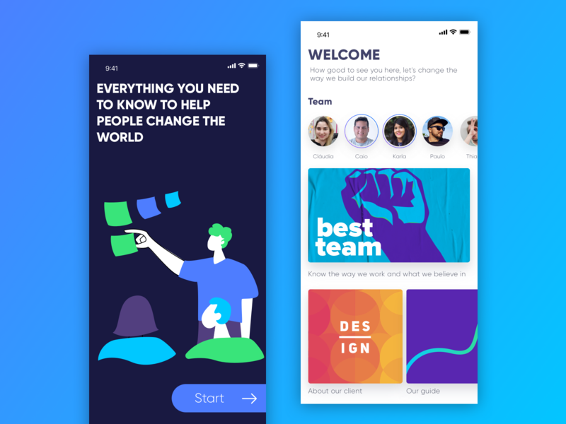Onboard - Design Team app ui mobile ux ios design colorful illustration navigation feed card