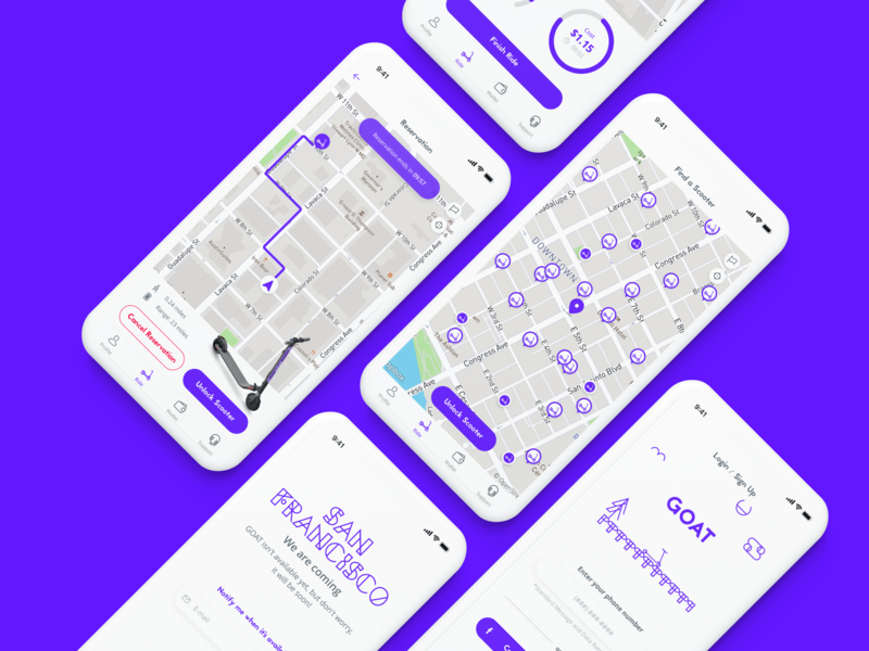 GOAT Dockless Scooters Rental maps app electric dockless ux branding flat ios ui scooter