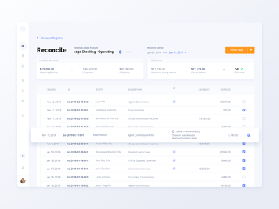 Reconciliation Dashboard - Accounting System for Real Estate ux ui saas banking entry transactions finance accounting real estate dashboard reconciliation