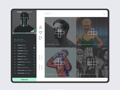 Mint' design ui cross green mint music radio tablet ux
