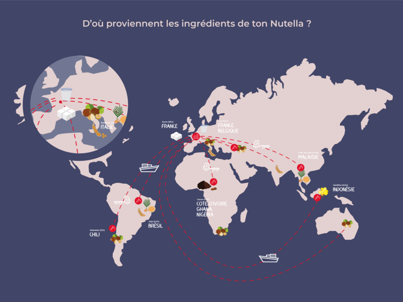 Nutella Cartography illustration illustrator transportation purple cartography ingredients nutella