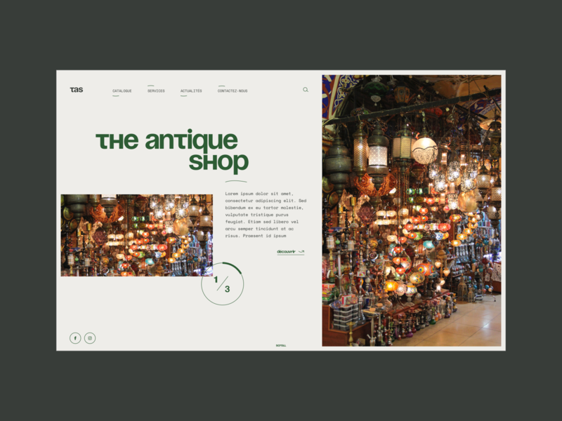 The Antique Shop green design webdesign ui