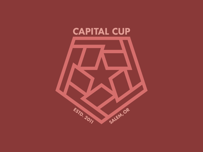 Capital Cup logo pentagon flags star sports logo tournament thick lines sports futbol football soccer