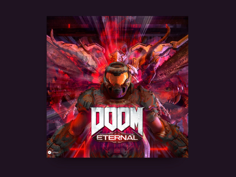 Doom Eternal Cover illustration fun challenge posterchallenge doomsday poster cover design cover art doom eternal doom