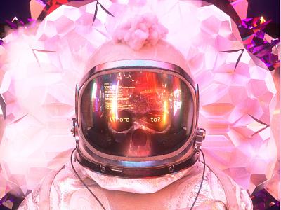 newgen posterjo #34 3d astronomy octane render octanerender colors fluffy clouds minimal astronaut