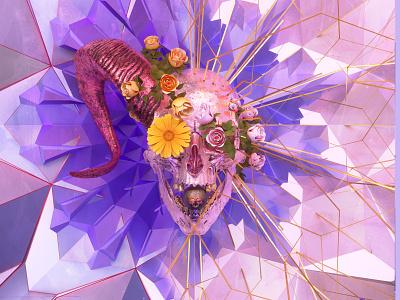 newgen posterjo #42 octane render 3d art octanerender 3d poster colors posterchallenge skull flowers floreal modern minimal