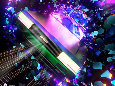 newgen posterjo #60 colors modern sci-fi time machine delorean timetravel future back to the future