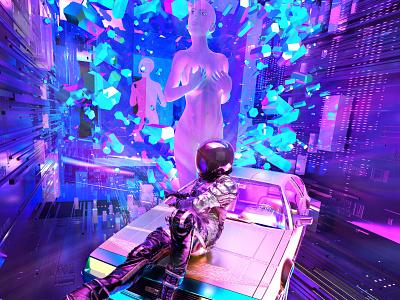 newgen posterjo #62 cyberpunk sci-fy back to the future god timeline delorean