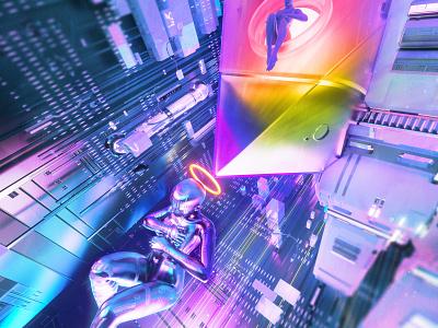 newgen posterjo #63 modern posterchallenge utopia futuristic back to the future color hologram sci-fi cyberpunk