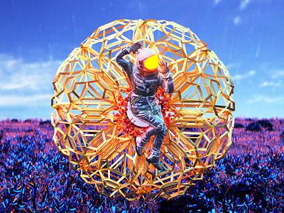 newgen posterjo #64 modern poster colors crystals futuristic bionic cyberplant cyberpunk alien alien world