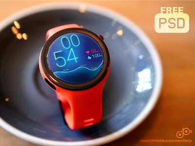 Mockup Moto360 Sport photorealistic wear android psd mockup