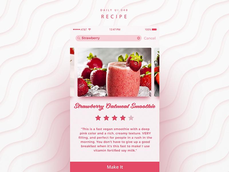 Dribbble dailyui 040 recipe