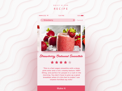 Daily UI #040 Recipe recipes nice kitchen ios food cooking application apple app day40 dailyuichallenge dailyui