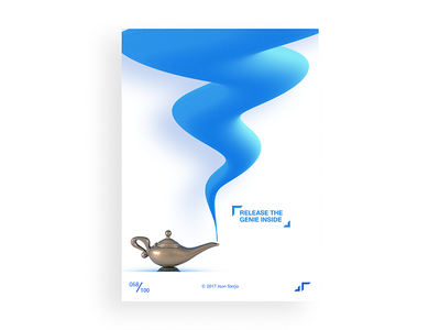 Poster Day #068 posterchallenge poster modern minimal wishes genie fun design colors challenge