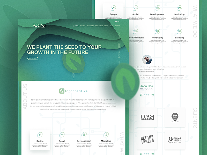 Creative Studio Landing Page ux ui minimal foliage android ios website greenery page landing