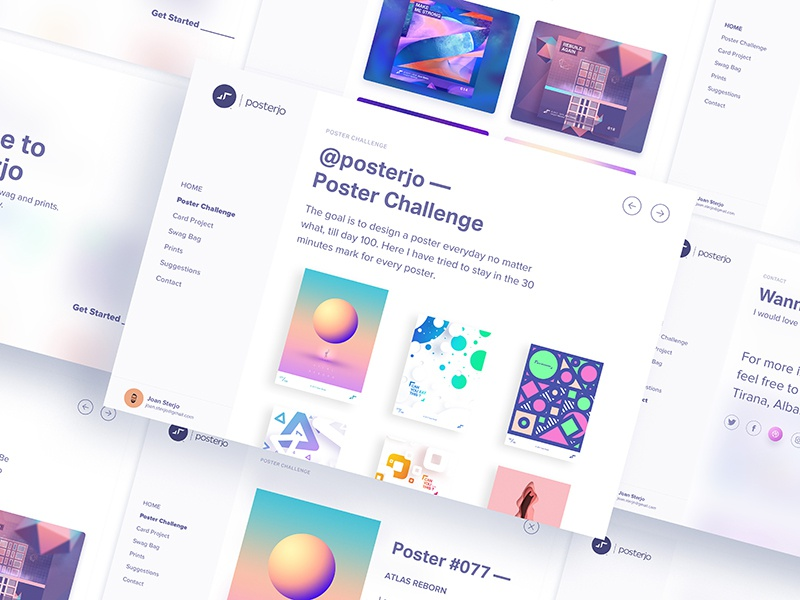 posterjo Website light minimal sketch cool card poster ux ui page landin