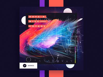 Cards Project #035 explosion challenge colors design stars universe minimal modern poster posterchallenge