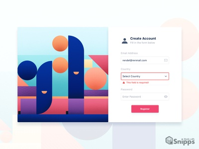 Register Form UI (made with Snipps) kit snipps design system snipps logo ui fun design modern colors minimal