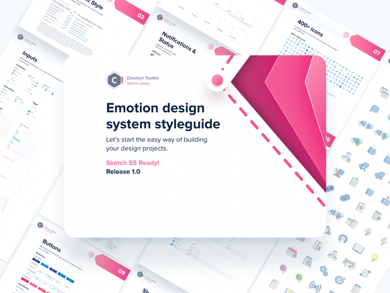 Emotion Design System flat ui web icon logo design branding ux typography illustration vector cool colors minimal modern library design systems design system