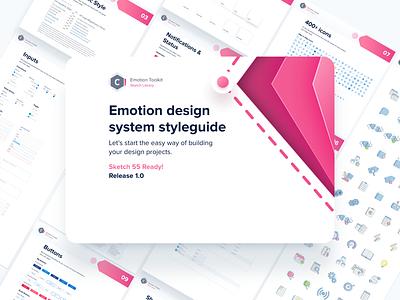 Emotion Design System flat ui web icon logo design branding ux typography illustration vector cool colors minimal modern library design systems design system