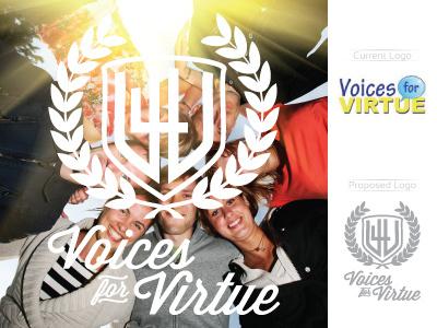 V4V redesign logo laurels shield monogram