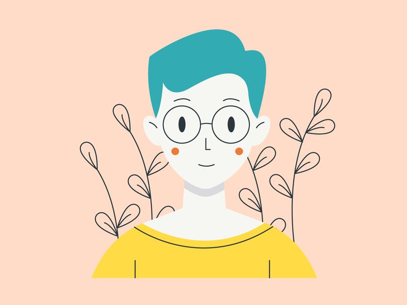 Girl illustrator portrait vector girl color illustration design
