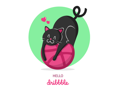 Hello Dribbble first shot cat debut