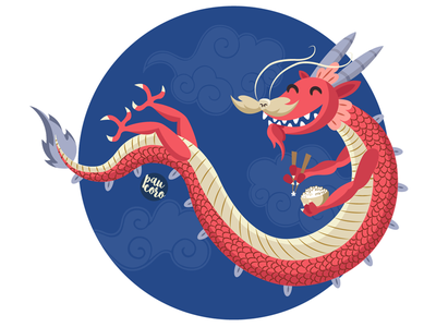 Lucky Dragon legendary luck red rice chinese china dragon