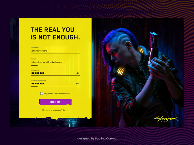 Daily UI | Sign Up 2077 sign up cdprojektred cyberpunk 2077 cyberpunk ui ui design dailyui