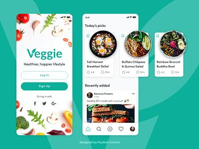 Vegetarian Recipes App Concept veggies healthy lifestyle healthy eating healthy food foodie food salad product design ux design uiux uidesign ui mobile ui mobile app healthy vegetables adobe xd