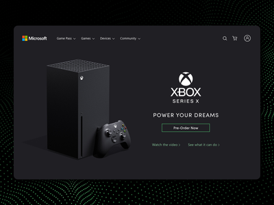 Xbox Series X branding console home page microsoft xbox series x xbox video game video games photoshop website ui  ux adobe xd ui design design clean ui