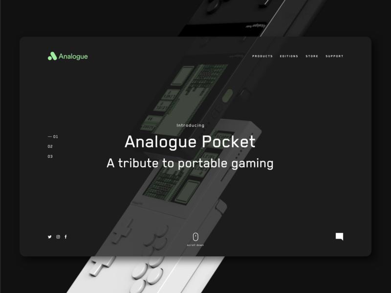 Analogue Website Concept 8 bit ux design ui ux design ui ux game boy gaming video game analogue website adobe xd ui design design clean ui