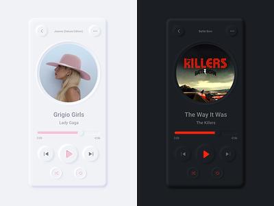 Music App ux ui adobe xd soft ui neumorphism neumorphic music player minimalist dark light iphone gradient digital cover app