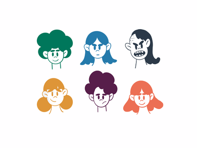 Expressions characterdesign characters photoshop procreate doodles color expressions faces illustration design