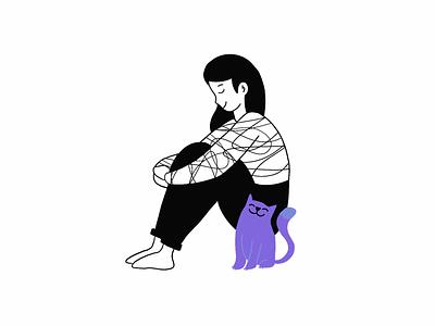 Peace procreate lines doodle character color accent accent color girl cat photoshop clean illustration design