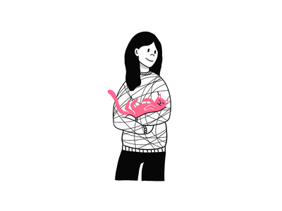 Comfort procreate drawing doodle character girl cat pink accent blackandwhite lines clean color illustration photoshop design