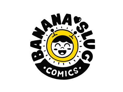 Banana Slug Comics character cartoon doodle procreate slug banana marker yellow illustration branding design
