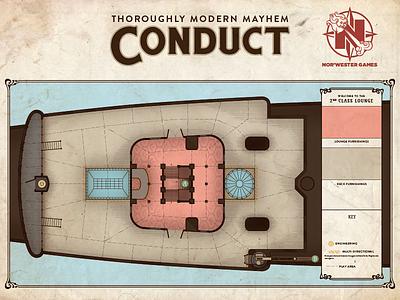 """Conduct"" Game Board - 2nd Class Lounge art nouveau art deco schematic game board board game"