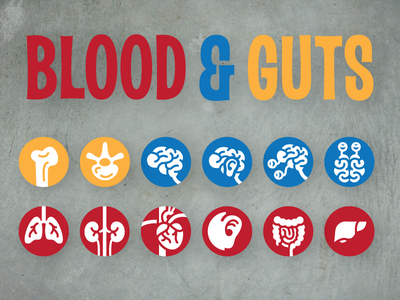 Blood and Guts Bullet Icons wip informational scientific icon
