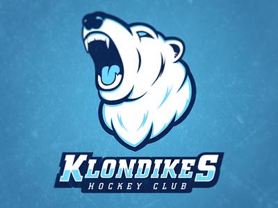 Klondikes Hockey Club sports branding logo hockey klondike identity polar bear sports logo