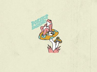 Mushie trippy frog mushie sports action illustration design revival roark